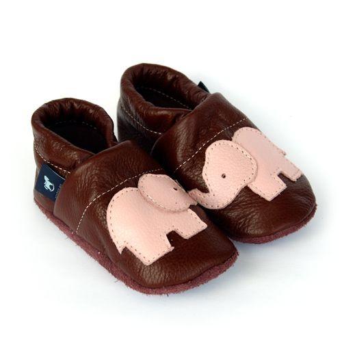Krabbelschuhe Lederpuschen Lauflernschuhe Braun Elefant Pantau