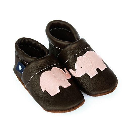 Krabbelschuhe Lederpuschen Lauflernschuhe Braun Dunkelbraun Elefant Pantau