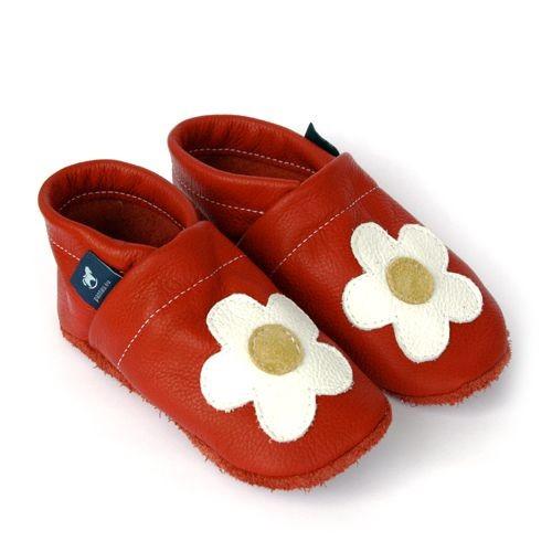 Krabbelschuhe Lederpuschen Lauflernschuhe Rot Blume Pantau