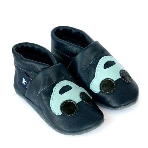 Krabbelschuhe Lederpuschen Lauflernschuhe Blau Auto Pantau